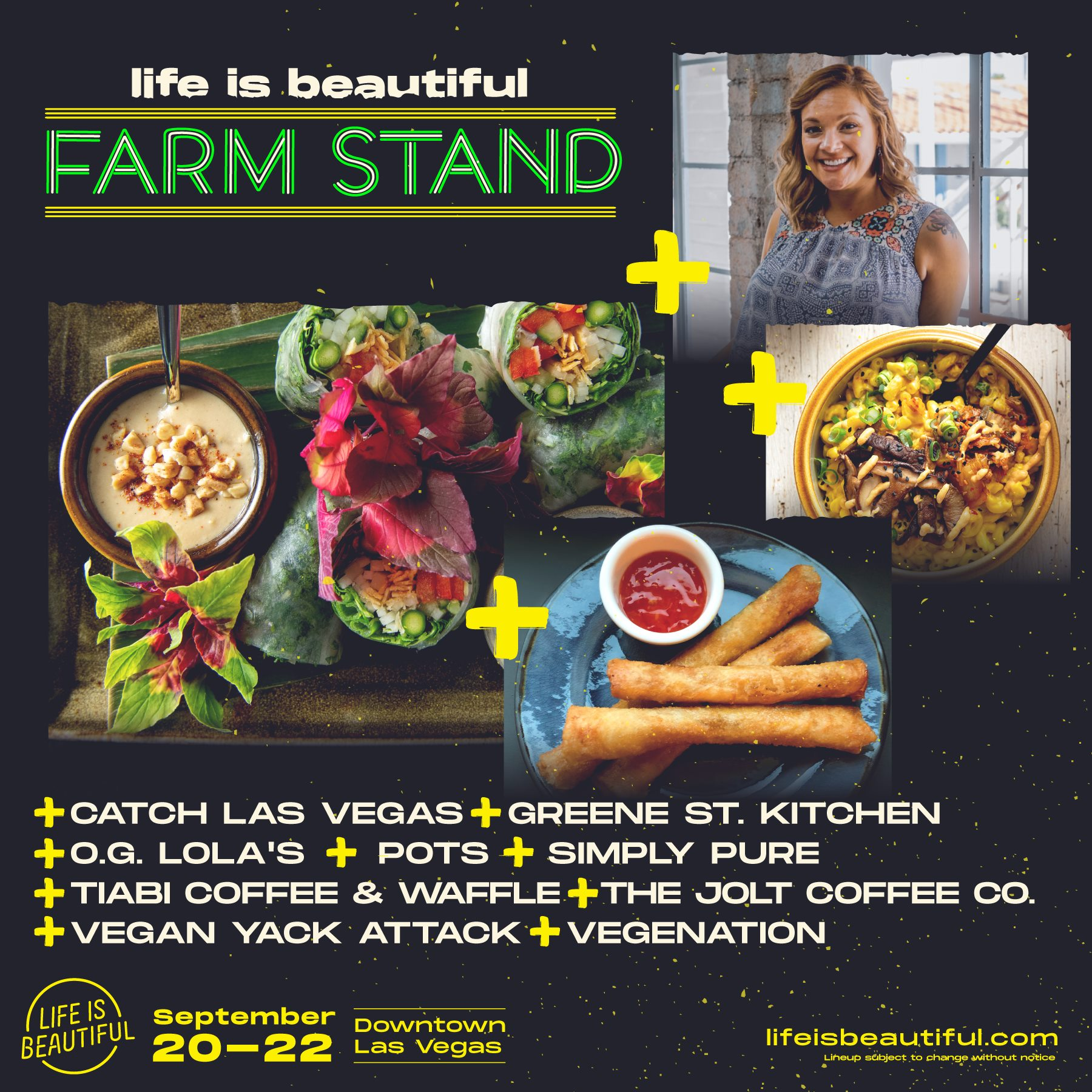 Vegan food guide to Life is Beautiful 2019, including The Farm Stand by Vegans, Baby